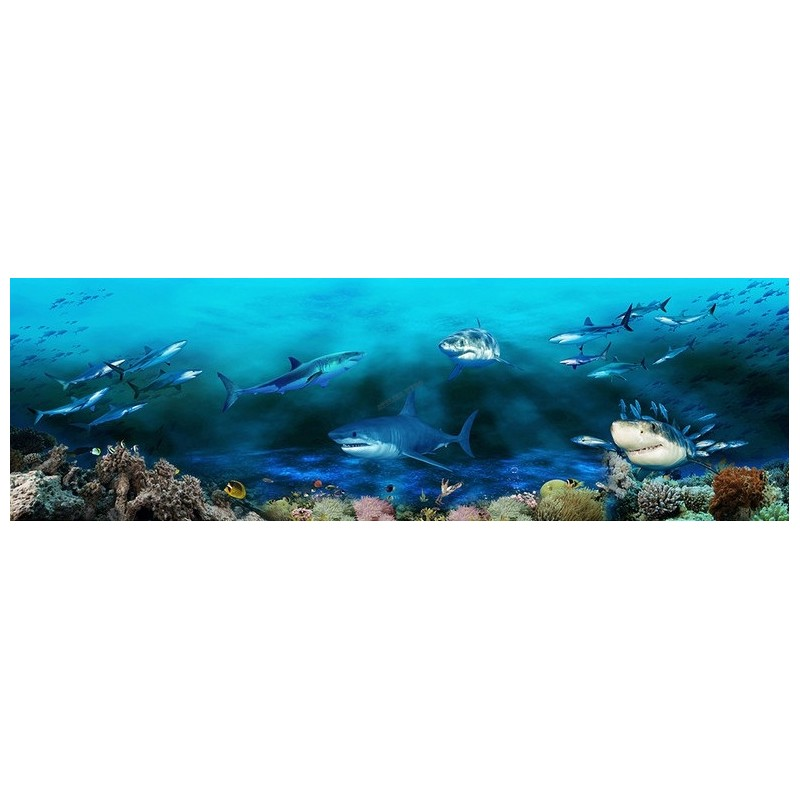 perfect poster gant mural grand format panoramique paysage fond marin les requins with grand. Black Bedroom Furniture Sets. Home Design Ideas