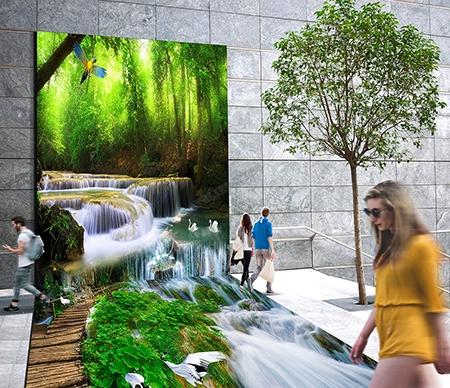 design 3d mur sol combin animation stand exposition papier peint photo paysage for t rev tement. Black Bedroom Furniture Sets. Home Design Ideas