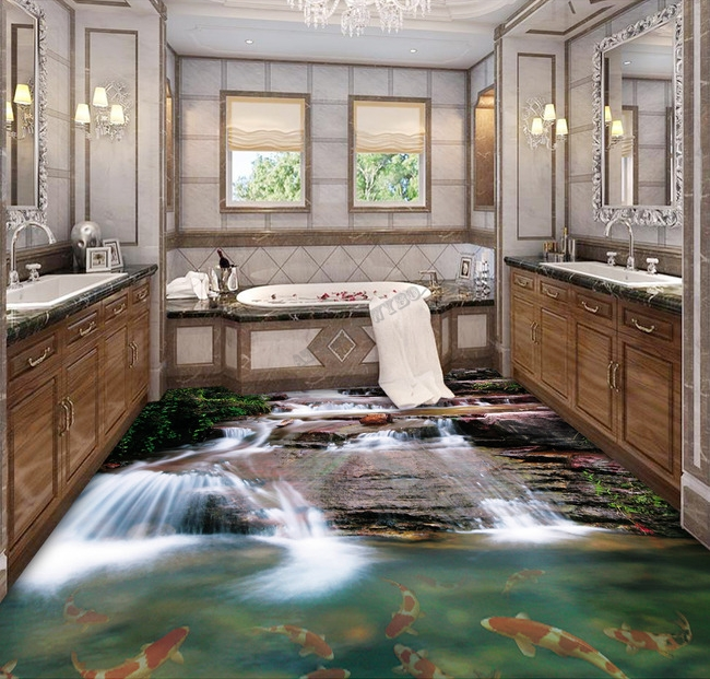 revêtement sol trompe l'oeil effet 3d sur mesure, revêtement sol personnalisé, décoration salle de baincascade, poissons