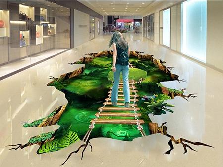 rev tement de sol centre commercial trompe l 39 oeil 3d animation v nementielle passerelle sur. Black Bedroom Furniture Sets. Home Design Ideas