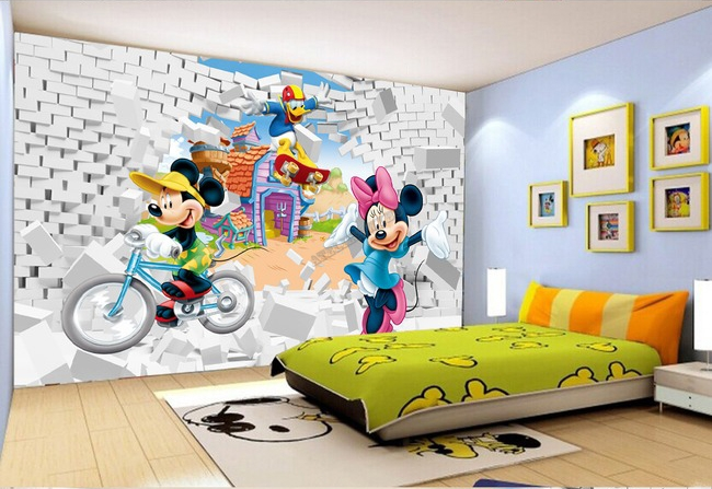 Papier Peint 3D, 3D Wallpaper, Mickey, Minnie, Donald, Papier Peint Mickey