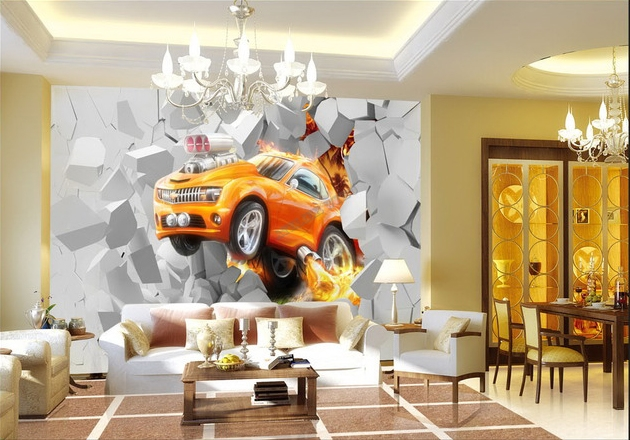 papier peint 3d personnalis voiture orange. Black Bedroom Furniture Sets. Home Design Ideas