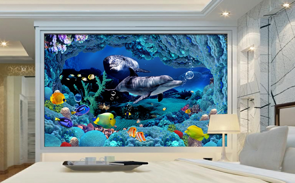 papier peint 3d paysage fond marin les dauphins tapisserie. Black Bedroom Furniture Sets. Home Design Ideas