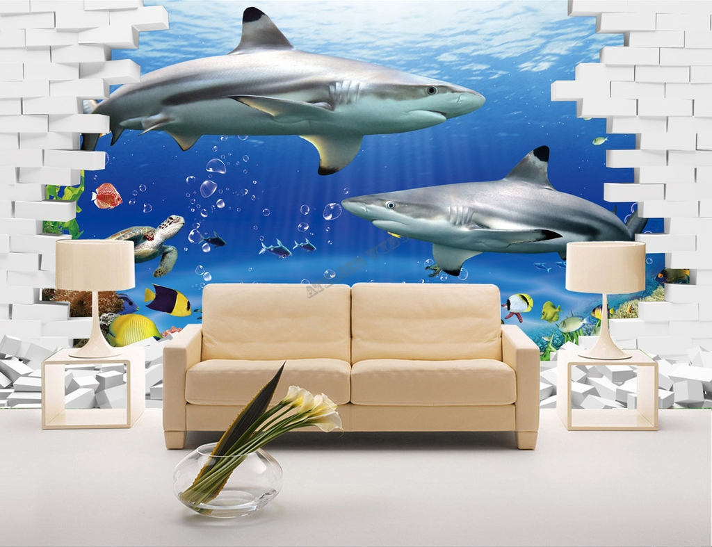 papier peint tapisserie 3d fond marin les requins. Black Bedroom Furniture Sets. Home Design Ideas