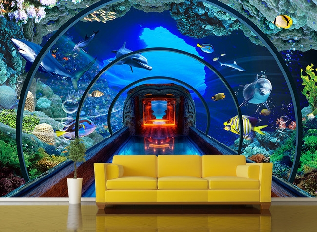 extension d 39 espace papier peint photo trompe l 39 il 3d personnalis poster fond marin aquarium g ant. Black Bedroom Furniture Sets. Home Design Ideas