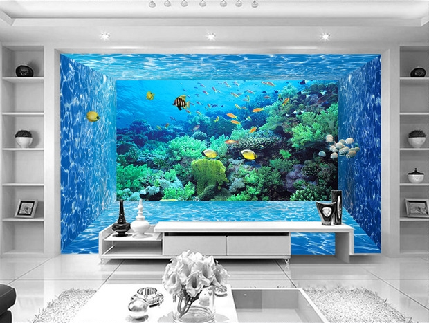 papier peint 3d fond marin effet aquarium tapisserie num rique sur mesure. Black Bedroom Furniture Sets. Home Design Ideas