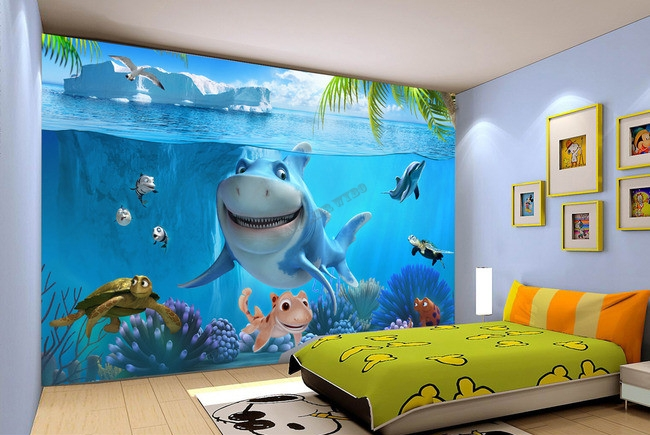 papier peint photo personnalis paysage fond marin pour enfant le requin et les tortues. Black Bedroom Furniture Sets. Home Design Ideas