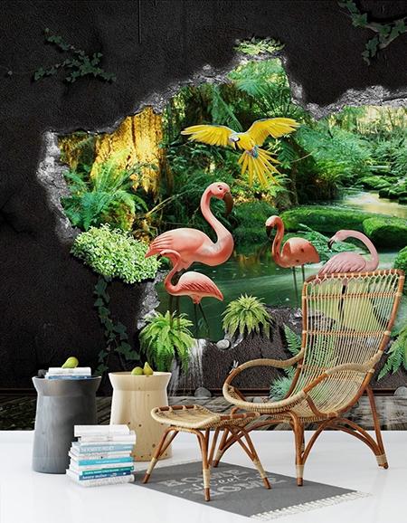 décor trompe l'oeil,flamant rose,perroquet,oiseau tropical,oiseau,jungle,trou mur 3d,papier peint 3d,trompe l'oeil,papier peint trompe l'oeil,tropical,paysage jungle,papier peint tropical,tapisserie trompe l'oeil,papier peint jungle,paysage jungle,tapisserie tropicale jungle,poster géant tropical,sticker mural jungle,tapisserie oiseau tropical,tête de lit jungle,tête de lit tropical,paysage tropical