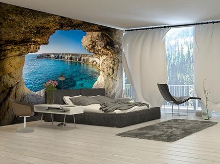 Poster géant trompe l'oeil 3D paysage mer,papier peint 3D intissé trou dans le mur,tapisserie murale 3D séjour grotte mer,sticker mural 3D grotte océan,papier peint 3D personnalisé grotte littorale