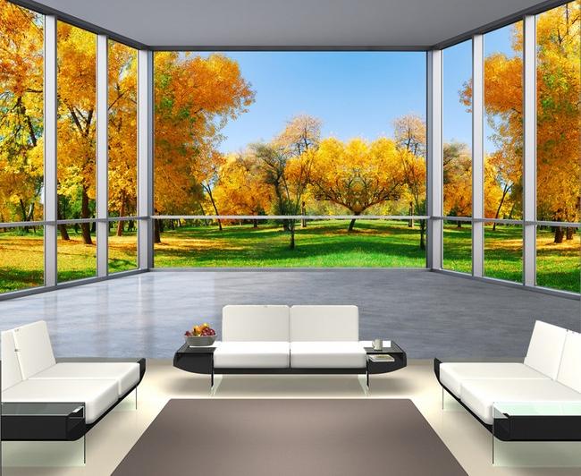 papier peint trompe l 39 il 3d tapisserie paysage poster g ant arbre d 39 automne papier peint sol 3d. Black Bedroom Furniture Sets. Home Design Ideas