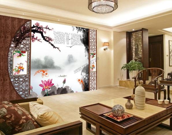 papier peint 3d asiatique sur meaure paysage zen les lotus et les poissons papier peint sol 3d. Black Bedroom Furniture Sets. Home Design Ideas