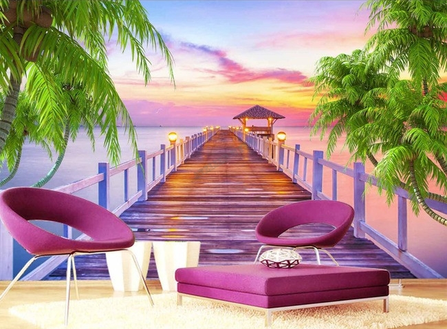 extension d 39 espace papier peint photo trompe l 39 il effet 3d paysage tropical coucher du soleil. Black Bedroom Furniture Sets. Home Design Ideas