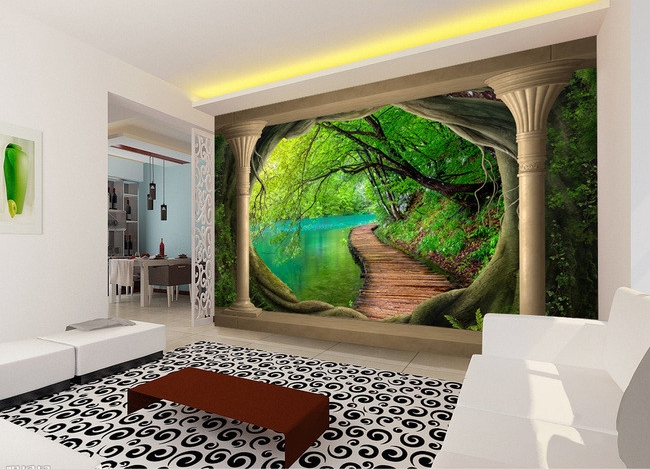 papier peint paysage myst rieux trompe l 39 oeil effet 3d. Black Bedroom Furniture Sets. Home Design Ideas