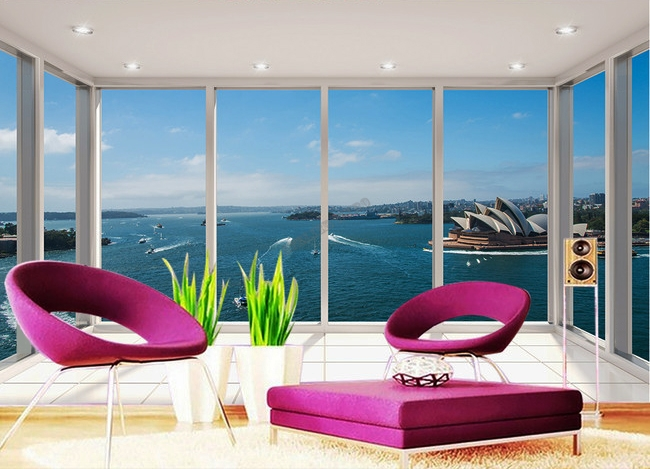papier peint paysage trompe l 39 oeil effet 3d extension d 39 espace op ra de sydney. Black Bedroom Furniture Sets. Home Design Ideas