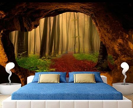 papier peint textile un seul morceau trompe l 39 oeil 3d trou audns le mur foret dans le brouillard. Black Bedroom Furniture Sets. Home Design Ideas
