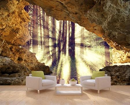 papier peint intiss trompe l 39 oeil 3d tapisserie panoramique trou dans le mur soleil dans la foret. Black Bedroom Furniture Sets. Home Design Ideas