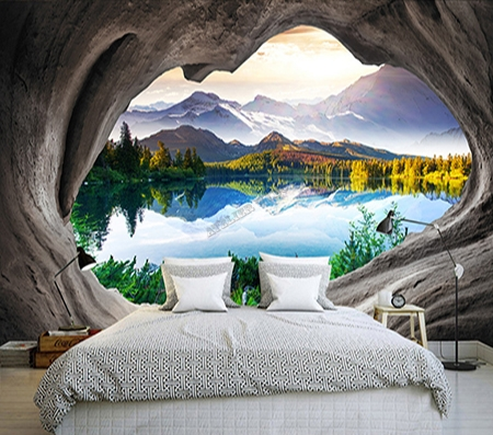 papier peint photo personnalis trompe l 39 oeil 3d trou dans le mur paysage montagne autout du lac. Black Bedroom Furniture Sets. Home Design Ideas