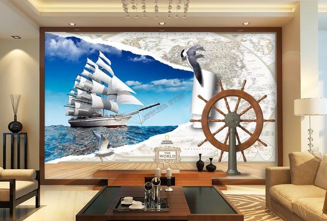 Papier peint 3d personnalisable voyage en tour du monde - Papier peint trompe l oeil 3d ...