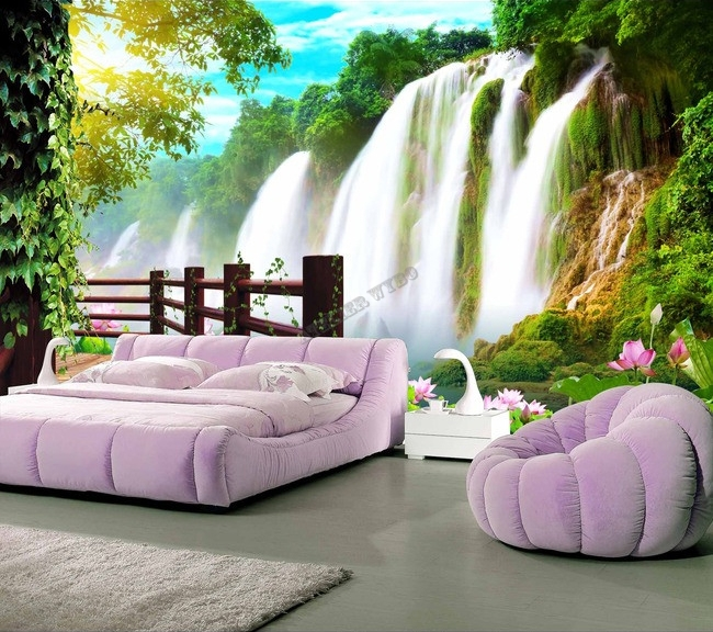 extension d 39 espace papier peint photo trompe l 39 il effet 3d paysage tropical chute d 39 eau avec. Black Bedroom Furniture Sets. Home Design Ideas