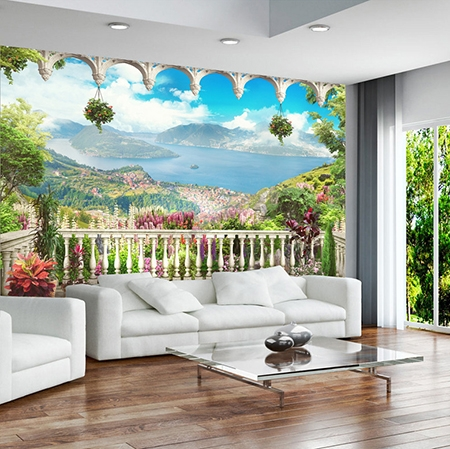 papier peint 3d intiss xxl tapisserie photo murale paysage panoramique du lac. Black Bedroom Furniture Sets. Home Design Ideas