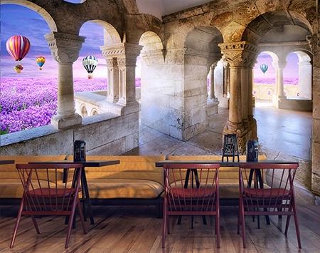 paysage féerique,château,champ de fleur,montgolfière,fleur violette,papier peint 3d chateau,tapisserie 3d montgolfière,poster géant paysage féerique,tête de lit champ de fleur,papier peint intissé paysage,tapisserie soie champ de fleur,décor 3d château,papier peint 3d restaurant