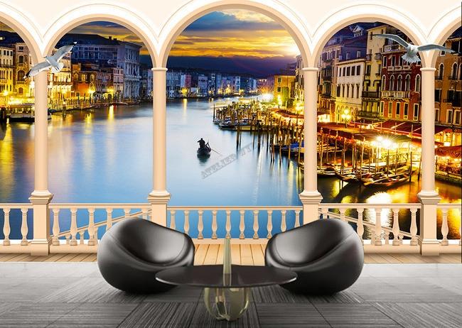 papier peint romantique personnalisable paysage trompe l 39 oeil effet 3d le coucher du soleil venise. Black Bedroom Furniture Sets. Home Design Ideas