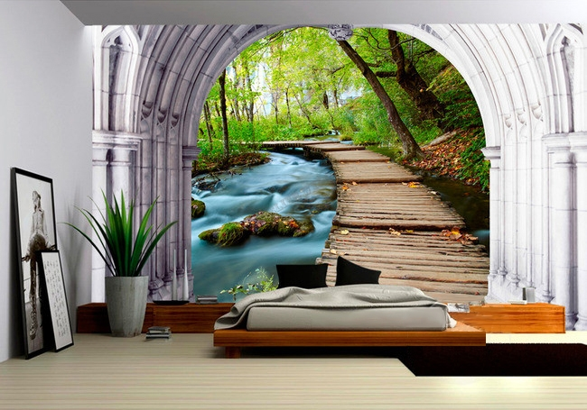 papier peint 3d personnals paysage zen petit pont sur la rivi re papier peint sol 3d. Black Bedroom Furniture Sets. Home Design Ideas