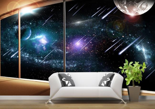 papier peint 3D fantaisie personnalisé les étoiles filantes