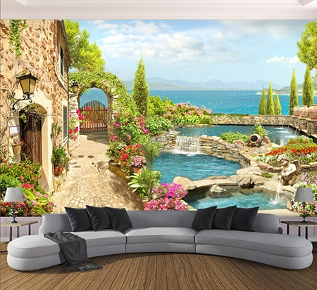 tapisserie murale brocart de soie papier peint trompe l 39 oeil paysage 3d maison avec jardin d 39 eau. Black Bedroom Furniture Sets. Home Design Ideas