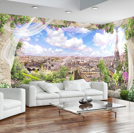 papier peint intiss panoramique tapisserie murale photo 3d paysage romantique de paris. Black Bedroom Furniture Sets. Home Design Ideas