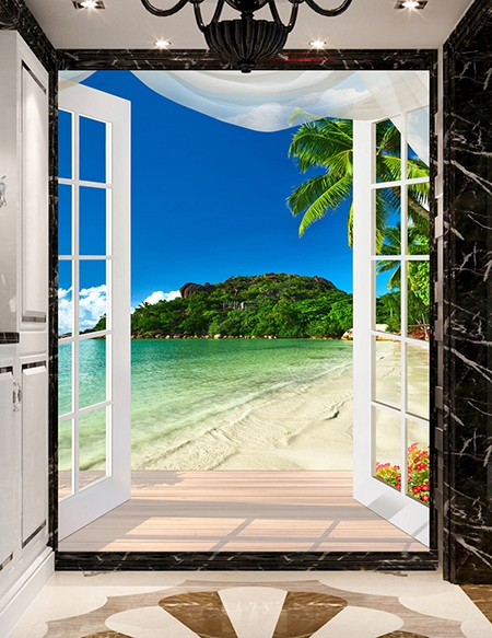 tapisserie murale 3d personnalis papier peint photo vertical paysage trompe l 39 oeil plage. Black Bedroom Furniture Sets. Home Design Ideas