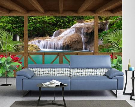 extension d 39 espace par papier peint 3d vinyle intiss paysage trompe l 39 oeil cascade vue depuis. Black Bedroom Furniture Sets. Home Design Ideas