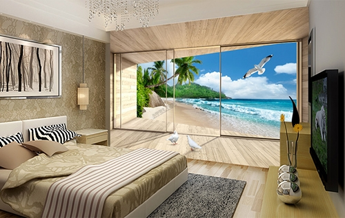 d coration murale papier peint photo personnalis poster trompe l il 3d baie vitr e terrasse en. Black Bedroom Furniture Sets. Home Design Ideas
