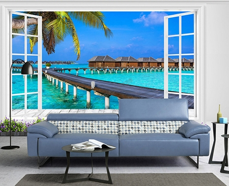d coration murale papier peint photo personnalis sticker trompe l il 3d paysage tropical. Black Bedroom Furniture Sets. Home Design Ideas