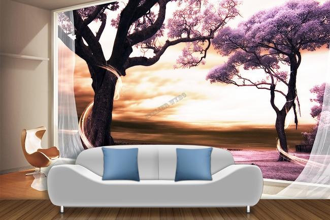 papier peint 3D paysage fantaisie romantique arbre violet