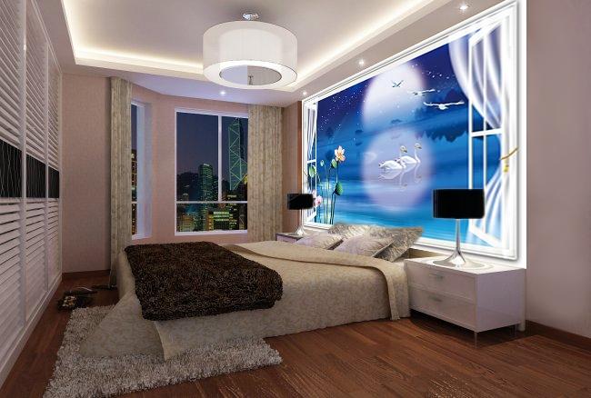 Papier peint photo personnalis trompe l 39 il 3d paysage fantaisie romanti - Tapisserie moderne pour chambre ...
