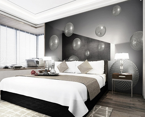 d coration murale papier peint photo personnalis sticker trompe l il 3d boule m tallique. Black Bedroom Furniture Sets. Home Design Ideas