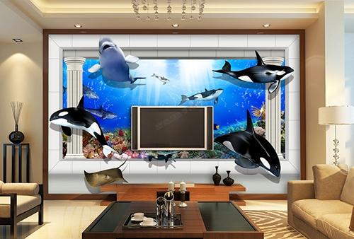 3D,fond marin,orque,dauphin,tortue,requin,mer,numière,bleu,corail,poisson