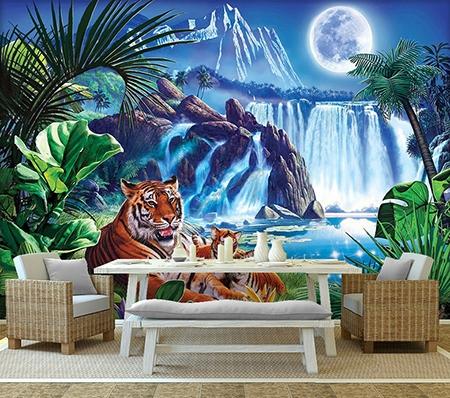 papier peint d 39 artiste tigre d coration murale paysage chute d 39 eau sticker xxl animaux sauvages. Black Bedroom Furniture Sets. Home Design Ideas