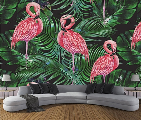 d cor tropical papier peint vinyle intiss les flamants roses et les plantes tropicales. Black Bedroom Furniture Sets. Home Design Ideas