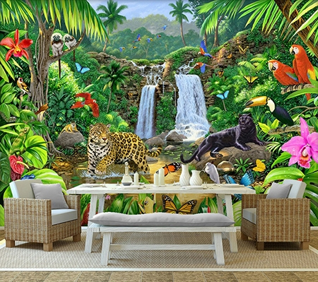 panth re perroquet plante tropicale d coration murale paysage jungle sticker xxl animaux sauvages. Black Bedroom Furniture Sets. Home Design Ideas