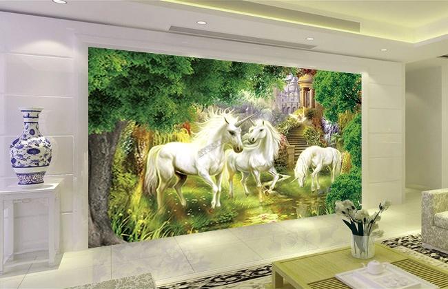 Papier peint fantaisie sur mesure les licornes dans le jardin for Decoration licorne chambre