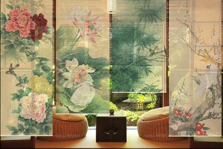 cloison japonaise fleurs et oiseaux de quatre saisons pivoine lotus cerisier,séparation mobile verticale séjour et balcon toile translucide imprimée asiatique bambou fleur d'abricotier perroquet blanc