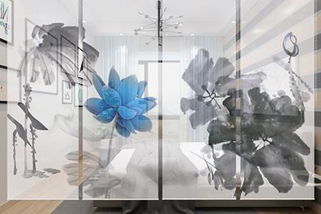 Idée de décoration intérieure très originale,transformez le rideau à un élément de séparation décoratif,toile semi-transparente suspendue motif imprimé en 4 volets fleur bleue et feuilles gris et noir,décor style oriental pureté et sérénité à votre intérieur