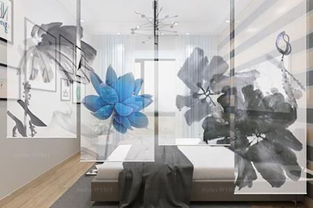séparation amovible chambre à coucher cloison japonaise personnalisée fleur zen issue d'une peinture à l'encore de Chine lotus bleu feuilles en noir et blanc,toile enrouleur translucide motif imprimé en haute définition hauteur réglable par chainette ou télécommande