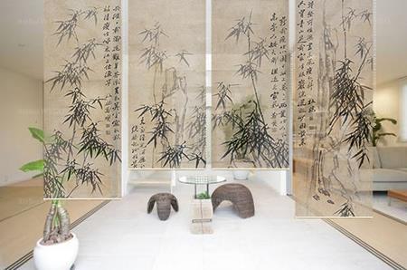 L'idée de séparation d'espace pratique sans faire des travaux paravent chinois amovible bambou et calligraphie hauteur réglable,cloison décorative toile translucide suspendue ton sépia