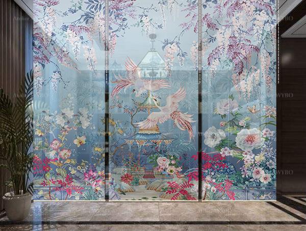 Décoration bureau personnel style asiatique rideau japonais discret séparation d'espace légère toile translucide imprimée fleurs et oiseaux exotiques ton bleu