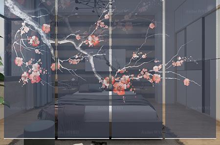transformez votre chambre en chambre traditionnelle japonaise avec notre cloison japonaise fleurs de cerisier sur fond bleu foncé,toile translucide imprimée florale séparation d'espace subtile et élégante design et format sur mesure