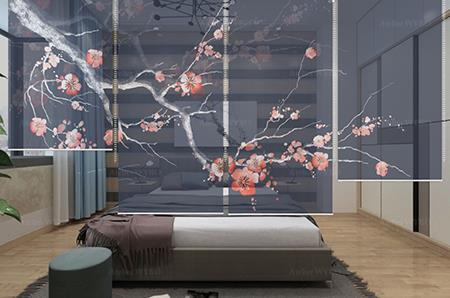 décoration chambre japonaise esprit zen signé Atelier WYBO,sobriété, sérénité et épurée à votre intérieur paravent suspendue amovible motif cerisier sur fond bleu foncé,séparation d'espace souple