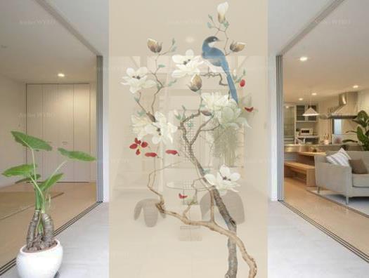 Séparation mobile japonaise hauteur réglable pour l'entrée d'une villa de luxe,toile translucide imprimée fleurs et oiseaux issue d'une peinture à l'encre de Chine oiseau bleu sur branche de magnolia blanc fond beige